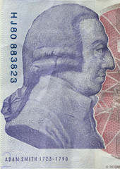 Adam Smith portrait on reverse of 20 pound sterling banknote