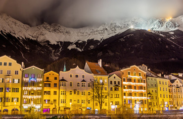 The embankment of Innsbruck at night - Austria