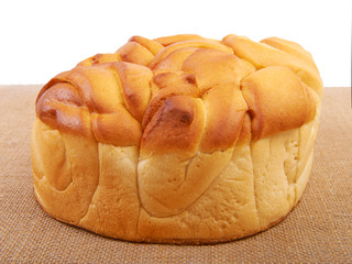 Bread on canvas.