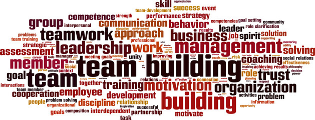 Team building power word cloud concept. Vector illustration