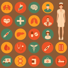 vector medical icon illustration, medicine set,
