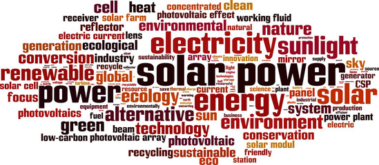 Solar power word cloud concept. Vector illustration
