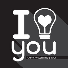 Bulb with heart Idea concept for Happy Valentines Day card in Ve