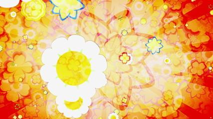 Animated Retro flowers Mash up Looping Background