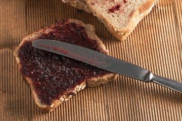 Homemade jam on integral bread