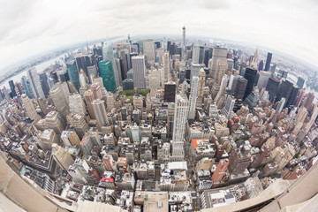 New York Aerial View on a Cloudy Day