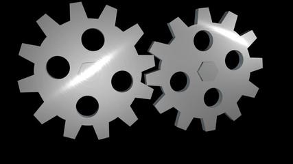 3D gears alpha loop rotating