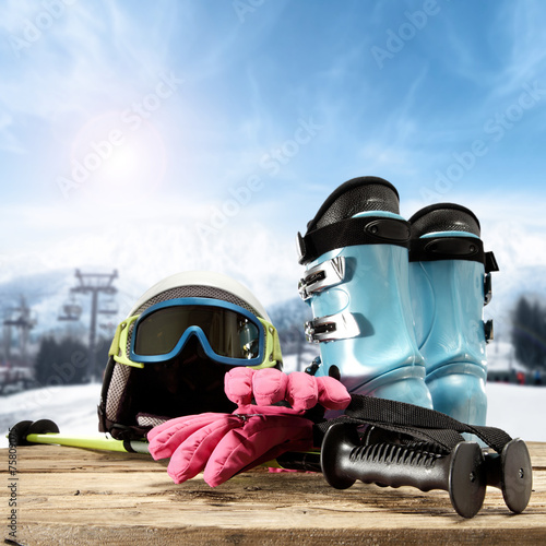 canvas print picture ski