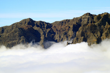 Top of the volcano in the clouds