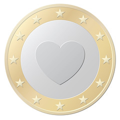 One Euro coin with heart