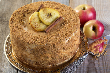 Apple cake with caramel mousse.