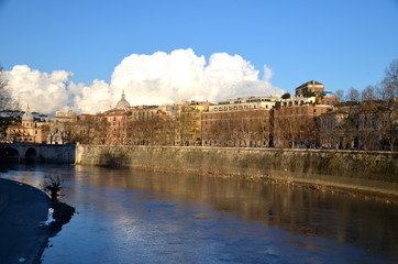 View of the River Tiber from Ponte Umberto I  in Rome