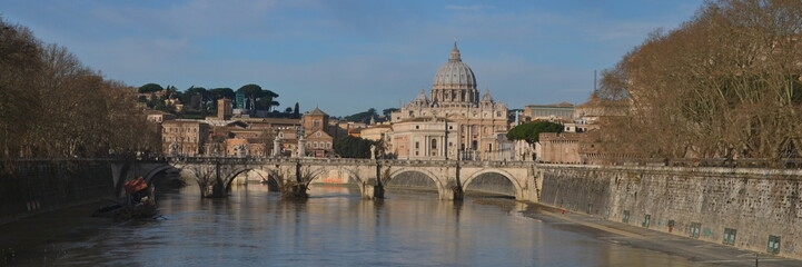 Saint Peter's Basilica, view from river Tiber, Rome