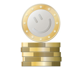 Euro coins stack with smile