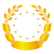 Golden laurel wreath with stars and ribbons