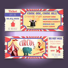 Circus retro tickets
