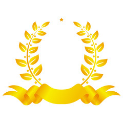 Golden laurel wreath with ribbon and star