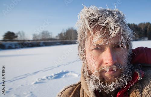 Tuinposter Wintersporten Frozen Man