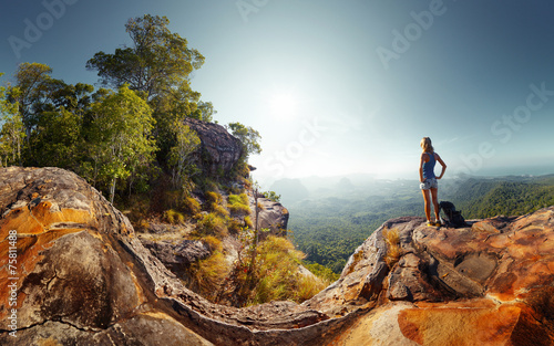 canvas print picture Hiker lady