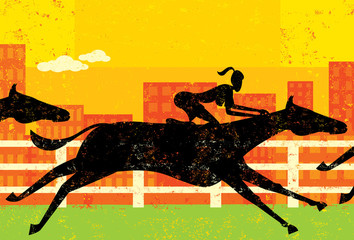 Businesswoman horseracing