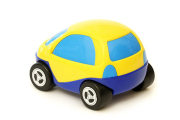 Yellow and blue toy car isolated on white background