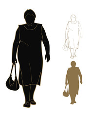 Silhouette of fat woman