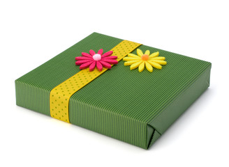 Spring gift with flower decoration