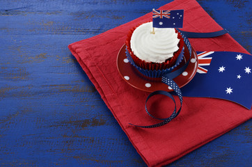 Happy Australia Day red white and blue cupcake