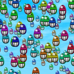 Falling grin smiling easter eggs generated texture