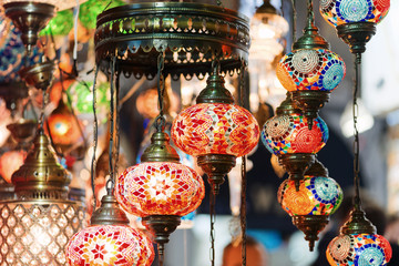 Colorful lamps at a lampshop in Istanbul