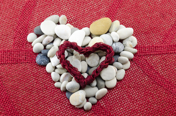 Pebbles shaped into a heart