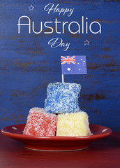 Happy Australia Day red, white and blue lamingtons