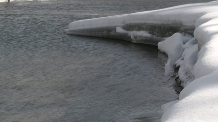 ice on the river with wind