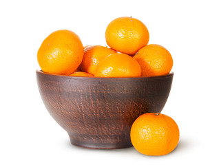 Tangerines In A Ceramic Bowl And One Near