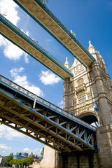 passing under Tower Bridge by boat, London