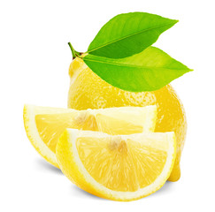 lemon with leaves and slices isolated on the white background