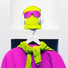 Extreme sports fashion accessories. Bright cap, sunglasses, head