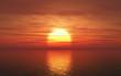 3D sunset over sea