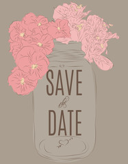 Beautiful hand drawn mason jar save the date card template