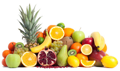 Assortment of fruits isolated on white