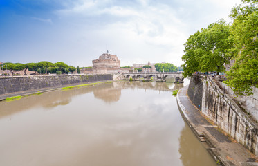 Along Tiber river, Rome. St Angel Castle in background