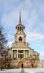 Belfry of Boris and Gleb Monastery in Torzhok, winter time