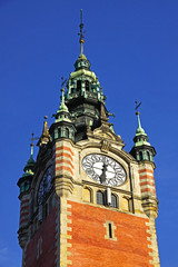 Clock Tower of the Railway station in Gdansk, Poland