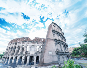 Amazing view of Colosseum amphitheatre, Rome