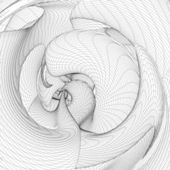 Geometric Curved Wireframe Shape