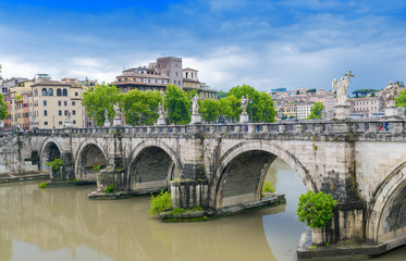 Magnificent bridge over Tiber river, Rome