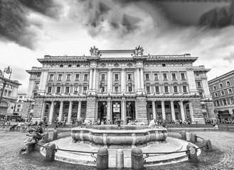 ROME - JUNE 14, 2014: Tourists walk in Piazza Colonna. More than