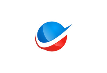sphere globe blue and red logo