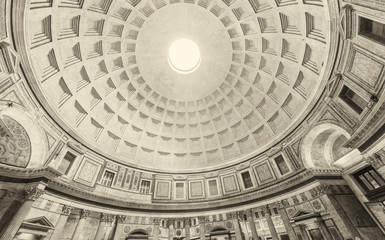 Internal part of dome in Pantheon, Rome, Italy