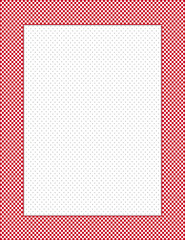 Gingham Red Check Border Frame, polka dot background copy space